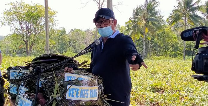 Bupati Maluku Tenggara Muhammad Thaher Hanubun menyampaikan sambutan pada acara pemanenan hasil kebun Ve'e Kes Yang di lokasi Danar 1, Sabtu (26/9/2020). Foto: Labes Remetwa