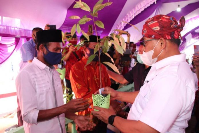 Gubernur menyerahkan benih dan bibit bagi masyarakat Desa Ulima Kecamatan Ambalau Kabupaten Buru Selatan (Bursel), Jumat (6/10/2020).