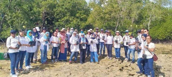Dharma Wanita Persatuan (DWP) Politeknik Perikanan Negeri Tual (Polikant) bekerja sama dengan Ikatan Keluarga Istri Anggota Dewan (IKIAD) DPRD Malra menanam 250 bibit mangrove di pantai Ohoi Kolser, Kecamatan Kei Kecil, Sabtu (14/11/2020). Foto: Labes Remetwa