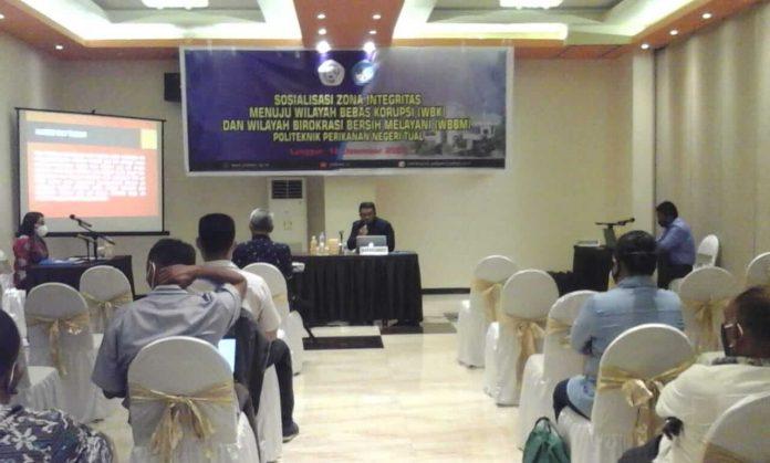 Suasana saat sosialisai Zona Integrasi Menuju Wilayah Bebas Korupsi (WBK) dan Wilayah Birokrasi Bersih Melayani (WBBM) Polikant jumat, (18//12/2020) lalu di ballroom hotel Grand Villia.