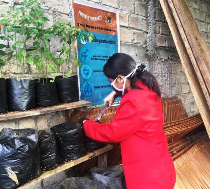 Juliana Akse, mahasiswa Program Studi Teknik Sipil Fakultas Teknik Universitas 17 Agustus 1945 Surabaya, melakukan kegiatan penanaman bibit sayur pada lahan kosong di Ohoi (Desa) Ohoijang. Foto: Dokpri