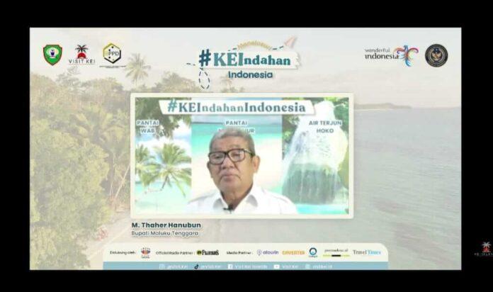 Bupati Maluku Tenggara M.Thaher Hanubun saat menyampaikan sambutan di webinar yang diselenggarakan oleh Visit Kei dan disiarkan secara langsung melalui chanel Youtube Visit Kei, Sabtu (26/6/2021).
