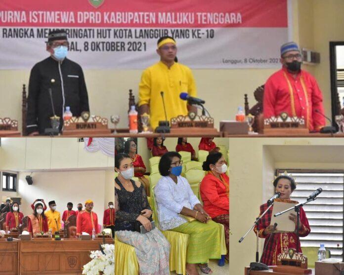 Rapat paripurna istimewa dalam rangka memperingati Hari Ulang Tahun (HUT) ke-10 Kota Langgur sebagai ibu kota Kabupaten Maluku Tenggara. Rapat tersebut digelar di ruang sidang utama DPRD Malra, Jumat (8/10/2021). Foto: Bagian Protokoler dan Komunikasi Pimpinan Malra/Icat